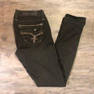 Olive green Rock Revival Jeans